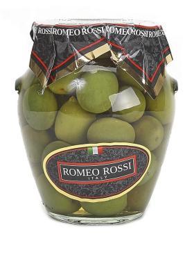 Оливки зелёные Гигант в рассоле, Ромео Росси, 290 гр., стекло