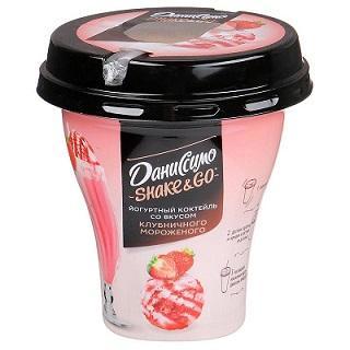 Коктейль йогуртный Даниссимо со вкусом клубничного мороженого 5,2% 260г