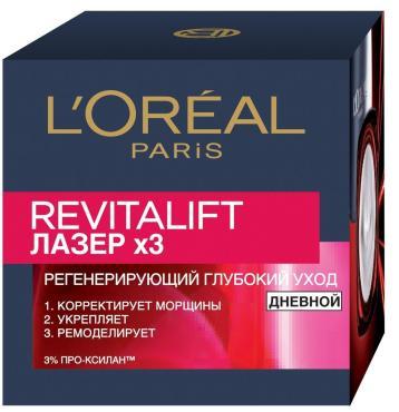 Дневной антивозрастной крем L'Oreal Paris Ревиталифт Лазер х3 против морщин для лица