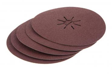 Круг шлифовальный фибровый, 150мм, P80, 10000 об/мин, 80м/с, 5шт Hammer Flex 243-016, 160 гр., картонная коробка