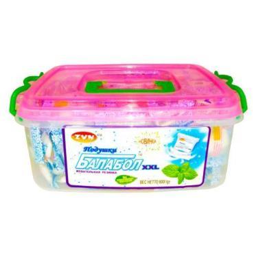 Жевательная резинка мята 180 шт., Балабол XXL, 600 гр., пластиковый контейнер
