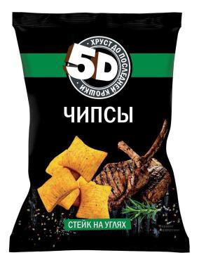 Чипсы 5D со вкусом стейк на углях пшеничные