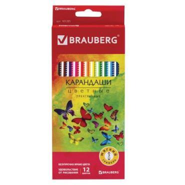 Карандаши цветные Brauberg Бабочки трехгранные корпус с полосками 12 цветов