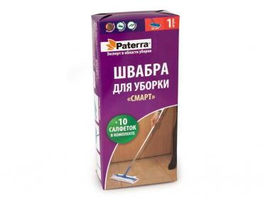 Швабра Paterra Смарт Плоская Разборная с салфетками 39-110см