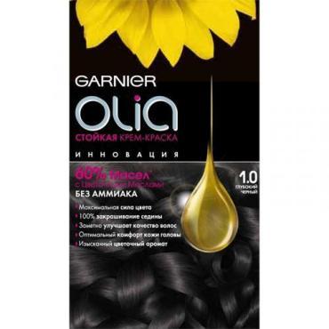Крем-краска для волос с цветочными маслами, без аммиака 1.0 Глубокий чёрный, Garnier Olia 110 мл.,Картонная коробка