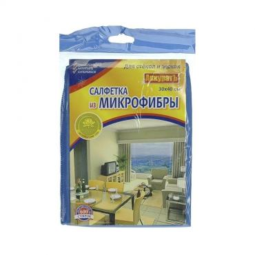 Салфетка АккуратЪ Для стёкол и зеркал Из микрофибры 30х40см.