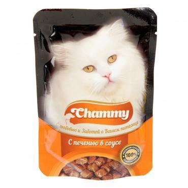 Корм влажный для взрослых кошек с печенью в соусе Chammy 85 гр. Дой-пак