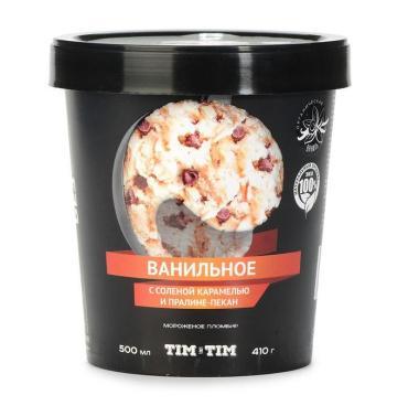 Мороженое Tim&Tim Ice Cream Пломбир Ванильное с соленой карамелью и пралине пекан