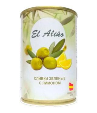 El Alino оливки зелёные с лимоном 290мл 1/12