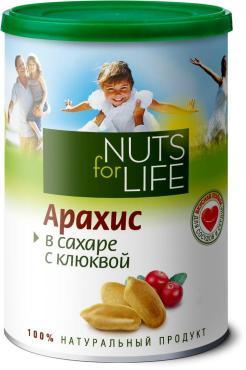 Арахис Nuts for Life обжареннный в сахаре с клюквой