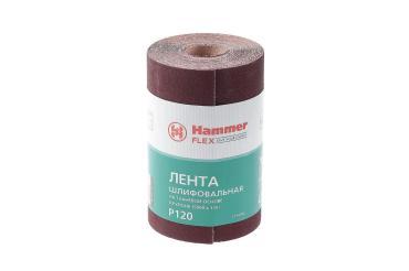 Лента шлифовальная в рулоне 115х5м P120 тканевая основа Hammer Flex 216-004, 360 гр., бумажная упаковка