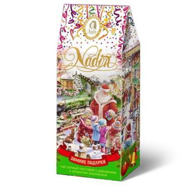 Чай листовой черный с ароматом земляники Nadin Зимние подарки, 50 гр., картонная коробка