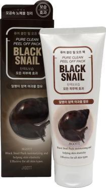 Маска-пленка Jigott Black Snail очищающая с муцином черной улитки