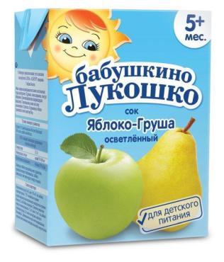 Сок яблочно-грушевый, осветленный, Бабушкино Лукошко, 200 мл., Тетра-пак