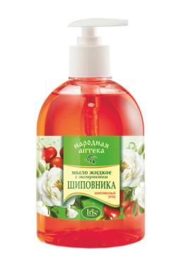 Мыло жидкое Iris Народная аптека с экстрактом Шиповника