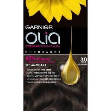 Крем-краска для волос 3.0 Тёмно-каштановый, с цветочными маслами, без аммиака, Garnier Olia, 110 мл., Картонная коробка