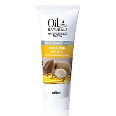 Скраб-гель для тела Bielita Oil Naturals с маслами Арганы и Жожоба очищение и смягчение