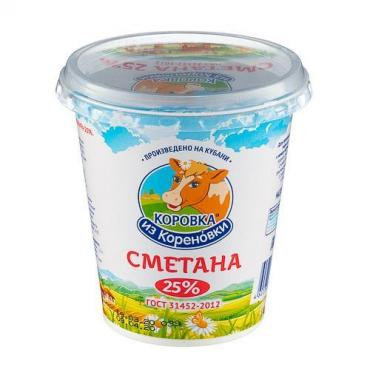 Сметана 25%, Коровка из Кореновки, 330 гр., пластиковый стакан