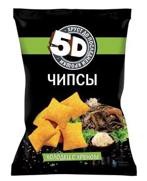 Чипсы со вкусом холодец с хреном пшеничные, 5D, 45 гр, флоу-пак