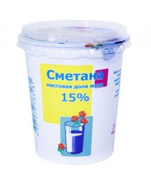 Сметана 15% Ирмень, 250 гр., пластиковый стакан