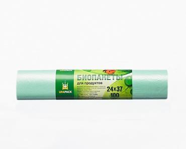 Био пакеты для продуктов в рулоне 100 шт. (24x37) UFAPACK, пластиковый пакет