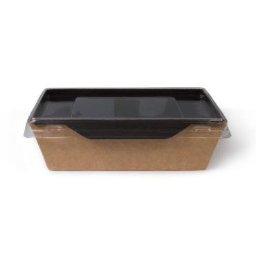 Салатник с прозрачной крышкой, 500 мл, черный