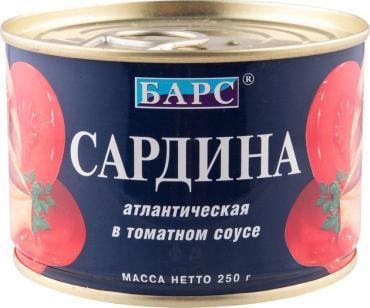 Сардина Барс атлантическая в томатном соусе, 250 гр., ж/б