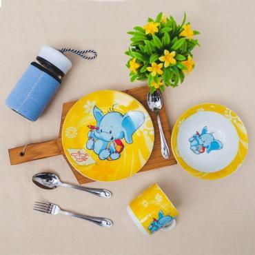 Набор детской посуды Доляна Слоненок, 3 предмета: кружка 230 мл., миска 400 мл., тарелка 18 см.
