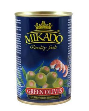 Оливки Mikado фаршированные с креветками, 314 гр., ж/б