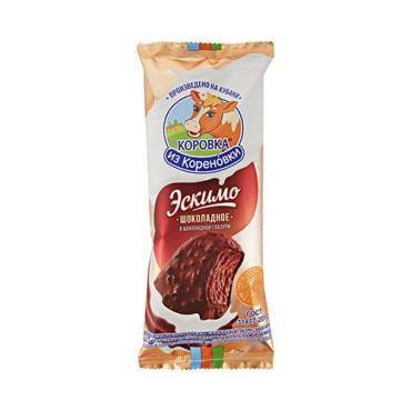 Мороженое пломбир шоколадное в шоколадной глазури с какао-крупкой эскимо, 15,0%, Коровка из Кореновки, 70 гр., флоу-пак