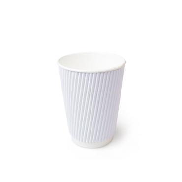 Бумажный стакан, 360 мл (макс. 420 мл), двухсл., гофр. вертикаль, белый