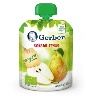 Пюре Gerber Organic Спелая груша фруктовое с 4 месяцев