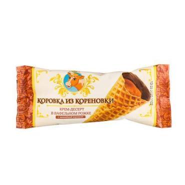 Крем-десерт в вафельном рожке с варенкой, Коровка из Кореновки, 40 гр., флоу-пак