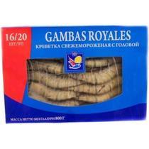 Креветка тигровая с головой 16/20 импорт свежемороженая Gambas, 860 гр., Картонная коробка