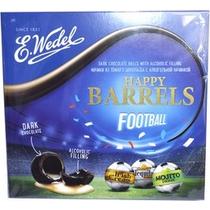 Конфеты E. Wedel Happy Barrels Football тёмный шоколад с алкогольной начинкой 176 г.