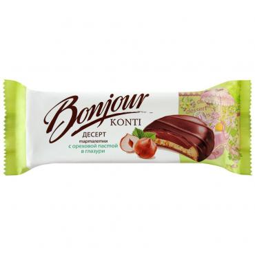 Десерт Bonjour тарталетки с ореховой пастой в глазури, Konti, 200 гр., флоу-пак