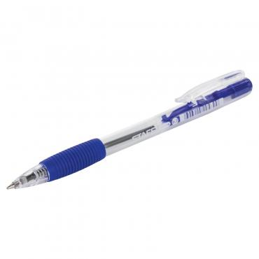Ручка шариковая Staff автоматическая с грипом синяя корпус прозрачный 0,7 мм.