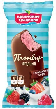 Мороженое Эскимо Пломбир ягодный в шоколадной глазури, Крымские Традиции, 80 гр.