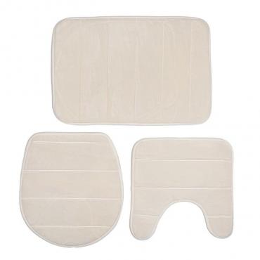 Набор ковриков для ванны и туалета Доляна 38х38 см., 39х42 см., 40х60 см. молочный 3 шт.