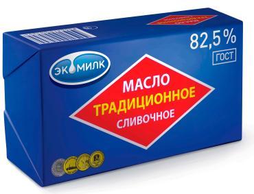 Масло сливочное  Экомилк Традиционное 82,5%, 180 гр., обертка фольга/бумага