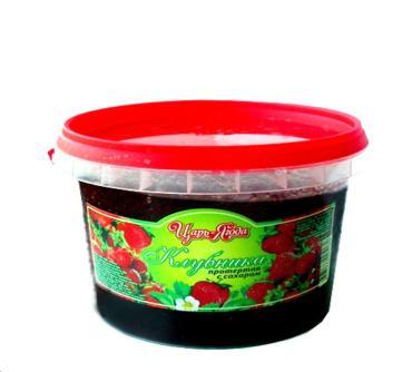 Ягода Царь-ягода Клубника протертая с сахаром, Россия