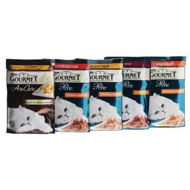Корм влажный для кошек Gourmet Perle 5+1 85 гр., дой-пак