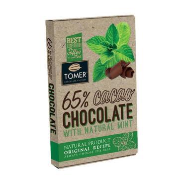 Шоколад горький 65% с мятой, Томер, 90 гр., картон