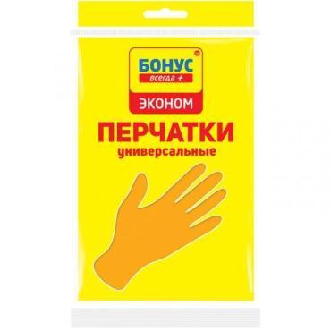 Перчатки хозяйственные, латексные размер М, Бoнус Универсальные, 40гр., Пластиковый пакет