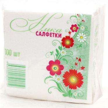 Салфетки бумажные белый 100 шт., Ника, пластиковый пакет