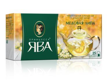 Чай Принцесса ЯВА зеленый Медовая липа 25 пакетиков