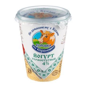 Йогурт термостатный 4%, Коровка из Кореновки, 350 гр, ПЭТ