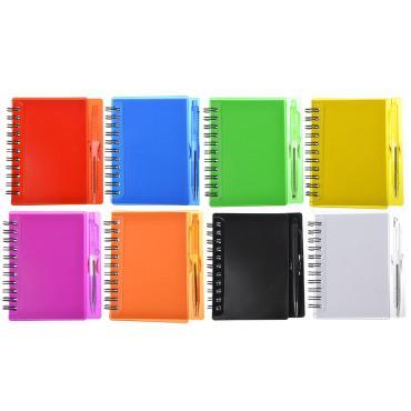 Записная книжка с ручкой 9,5х11см 80л. в клетку 8 цветов