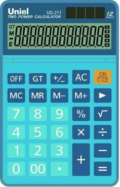 Калькулятор синий Uniel UD-211B, 190 гр., картонная коробка
