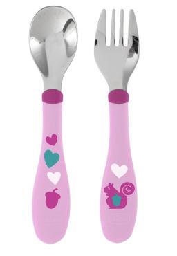 Набор для кормления детей (ложка и вилка), нерж. сталь,18 мес., розовый, Chicco